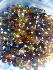60 Austrian Crystal Glass Round Beads -  Golden Brown Mix  - 8mm