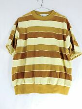 Mens c.1970s Vintage Penneys Towncraft Yellow & Brown Velour Shirt - Size L