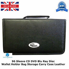 1 x  96 Sleeve CD DVD Blu Ray Disc Wallet Holder Bag Storage Carry Case Leather