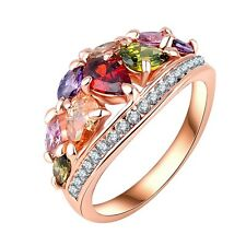 NiX 1536 Multicolor Crystal Ring Rose Gold Plated Ring Gift Women Size 8 (57mm)