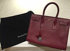 100% Auth New YSL Saint Laurent Sac De Jour Large Maroon Bag Calfskin Leather