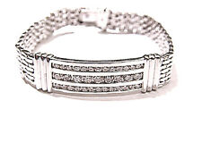 MENS ROUND BRILLIANT DIAMOND 3 ROW I.D. BRACELET