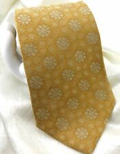 """Claiborne Men's Silk Tie Modern Floral 3 7/8""""x 59"""" Gold Metallic EUC"""