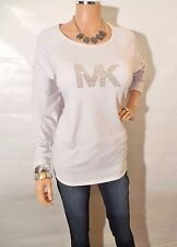 MICHAEL KORS Womens Top L White Stretch Shirt Gold MK INSIGNIA Long Sleeves