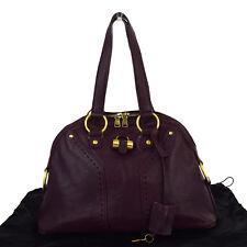 Authentic YVES SAINT LAURENT Muse Shoulder Bag Leather Purple Padlock 04S243