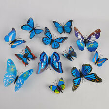 US 12x Blue 3D Butterfly Decal Art Wall Stickers Room Decorations Home Decor T01