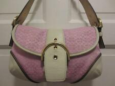 COACH PINK & White LEATHER & CC LOGO Fabric PURSE Handbag Shoulder Bag NICE!!