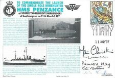 HMS PENZANCE NAVY 1997 SIGNED HRH PRINCESS MICHAEL LAUNCH MINEHUNTER VOSPERS