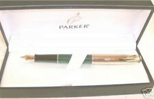 PARKER  INSIGNIA CUSTOM  GREEN & GOLD FOUNTAIN PEN MEDIUM PT  NEW IN BOX