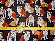 English British American Bulldog Bulldogs Dog Dogs GM C4891 TT Cotton fabric