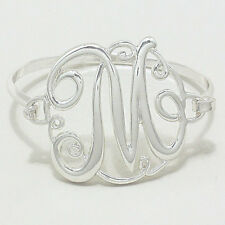 "Monogram Initial Bangle Bracelet SILVER 1.75""Letter M Hinge Bangle Metal Jewelry"