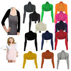 LADIES WOMENS PLAIN LONG SLEEVE BOLERO SHRUG CARDIGAN LADIES TOP PLUS SIZE 8-26