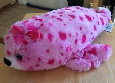 """THE PETTING ZOO PINK SPOTTED SEAL W/HAIRBOW 16"""" LONG BEANBAG PLUSH"""