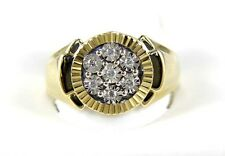 Fine Round Cut Cluster Diamond Men's Ring Band 14k Yellow Gold .10Ct