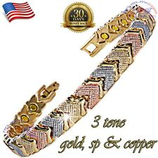 23 STRONG MAGNETS, 3 TONE COPPER MAGNETIC GOLF BRACELET WOMEN GOLD GP & SP X526