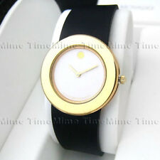 Women's Movado MUSEUM White Dial Rubber Band Gold Case PVD Swiss Quartz Watch