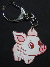 Porte-clés cochon personnalisé avec le texte ou prénom de votre choix