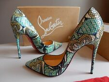 $1495 New Christian Louboutin SO KATE 120 Python Inferno Heels Pumps 37.5/37