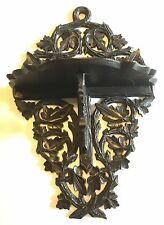 Superb Carved Antique  Black Forest  Clock / Bronze Folding Bracket