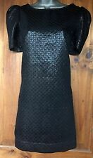 NEWLOOK STUNNING BLACK FUTURISTIC SHORT MINI SHIFT DRESS UK 14 US 10 EU 40/42