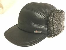 WIGENS KEN SNOW TOP WINTER CAP 100% LEATHER/ LAMB FUR 61CM XL BLACK REAL FUR