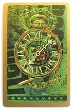 VINTAGE SWAP CARD. ANTIQUE FOB / POCKET WATCH DESIGN. GOLD EDGE HALLMARK. MINT