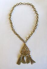 BEAUTIFUL VINTAGE MIRIAM HASKELL ART DECO GOLD TONE DANGLE PENDANT NECKLACE