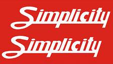 SIMPLICITY GARDEN TRACTOR VINYL DECALS  SCRIPT
