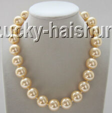 "18"" 16mm round champagne south sea shell pearls necklace magnet clasp j9277"