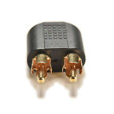 Top Plated 3.5mm Female Stereo To 2 RCA Male Audio Jack Connector Adapter Black