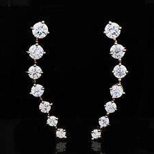 Stud Cartilage Gold Plated Clear Jewellery Crystal Womens Earrings 25*3 mm