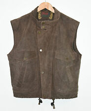 Vintage Brown Leather ROVER LAFCEO Zip Slouch Western West Waistcoat Size UK22