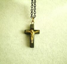 Necklace Pendant Hematite Stone Cross/Crucifix Religious 18 in Black Metal Chain