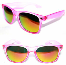 Men's Women's Wayfarer Sunglasses matte clear Pink Frame Gold mirror Square