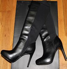 $230 CHARLES BY CHARLES DAVID FARRAH BLACK SMOOTH LYCRA TALL BOOTS SZ 6M