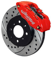 WILWOOD DISC BRAKE KIT,FRONT STOCK REPLACEMENT,HONDA,DRILLED ROTORS,RED CALIPERS
