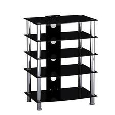 Black Glass Stainless Steel TV Media Entertainment Unit HiFi and TV Stand Table