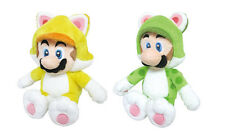 "Set of 2 Cat Luigi & Cat Mario 9"" Plush Toys - Super Mario 3D World Little Buddy"