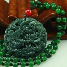 Natural green jade Boutique dragon and phoenix pendant