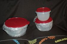 TUPPERWARE 3pc set CLASSIC MIXING BOWL SET 4,8,12 cup DARK RED SEALs flat bottom