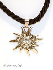 German Bavarian Womens Oktoberfest Jewelry - Black Swarovski Edelweiss Necklace