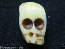 † GENUINE c1700s ANTIQUE NUN'S SKULL CARVED OX MEMENTO MORI PECTORAL BEAD S  †