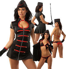 Sexy Adult Women Black Nurse Costume Halloween Night Lingeries Dress+Bra+T-Pants