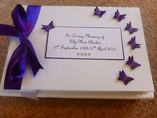 Personalised Condolence Bereavement memorial guest book purple butterflies white