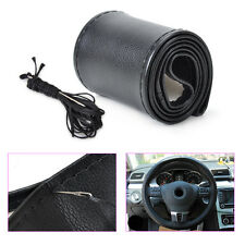 Car DIY Black PU Leatherette Breathable Steering Wheel Cover With Needle Thread