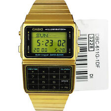 Casio DBC-611G-1 DBC611G Databank Gold Calculator 5 Alarms Telememo Watch New