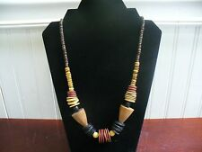 "Vintage Natural & Stained Wood Cone & Disk Bead 23"" Slipover Necklace"