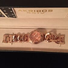 LADIES AKRIBOS XXIV ROSE GOLD WRIST WATCH IN BOX AWESOME - HAPPY HOLIDAYS
