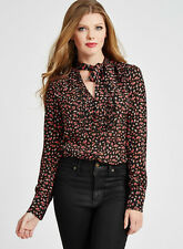 NWT GUESS Ditsy Floral print Bowtie Top Button down Blouse w/ bow Black S 4 5