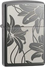 Zippo Lily Black Ice WindProof Lighter NEW 29425